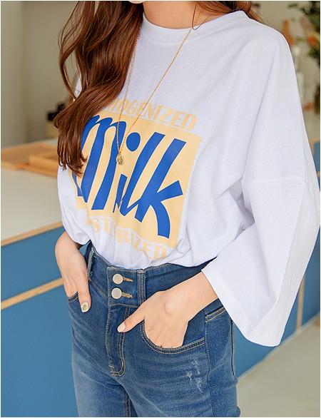 숄드 루즈핏 나염 반팔 티셔츠 42705