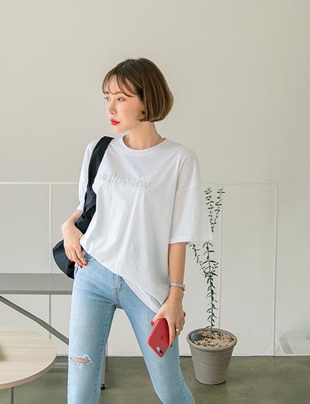코레니 루즈핏 나염 반팔 티셔츠 42958