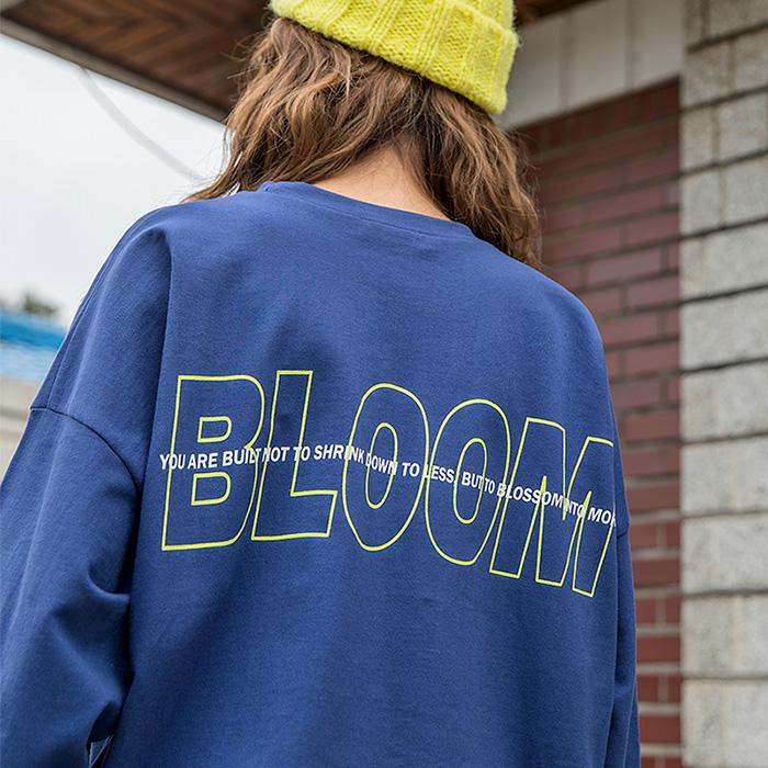 블러썸 루즈핏 나염 롱 티셔츠 45808