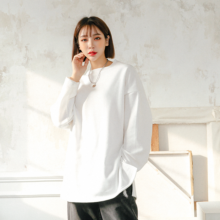 벨야 루즈핏 기모 티셔츠 47052