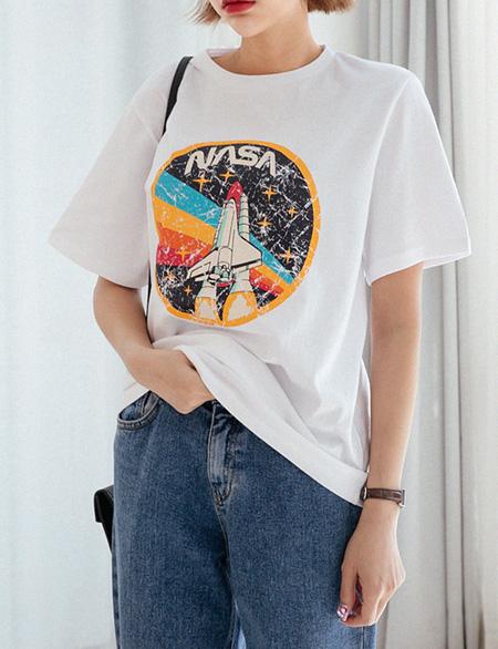 스페이스 나염 반팔 티셔츠 48306