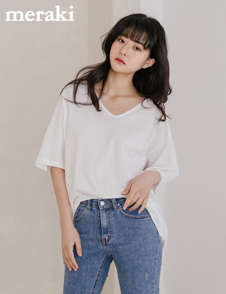 하올 UV넥 티셔츠 485