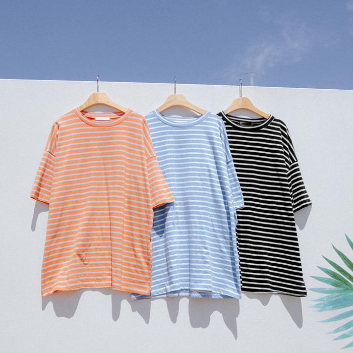 프리쥬 스트라이프 루즈핏 티셔츠 49852