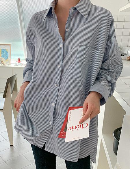 크레즐 루즈핏 스트라이프 셔츠 61004