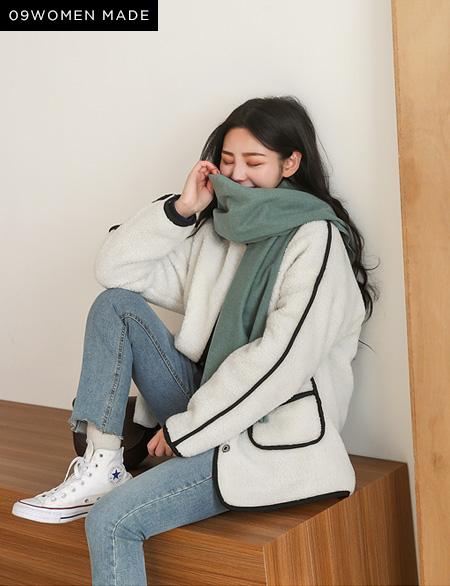 투메이 배색 양털 숏 자켓 40652