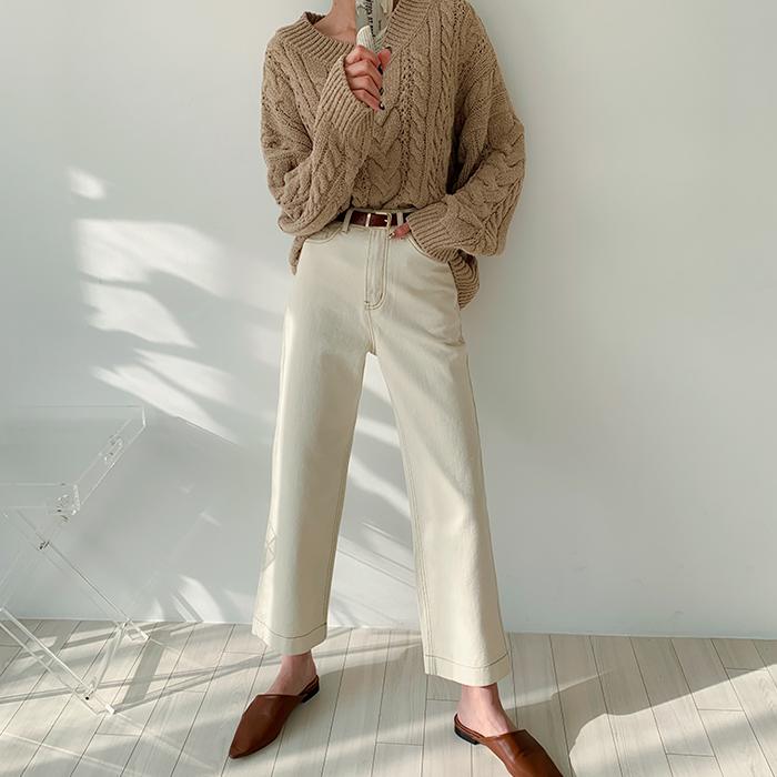 [김민경 착용]달레 뒷밴딩 와이드 팬츠 48009