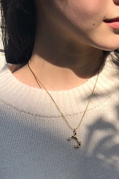 gold initial, necklace
