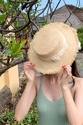 리본 라피아 모자