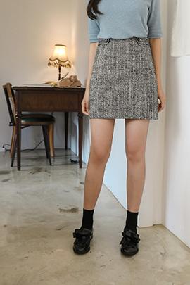 tweed button_skirt