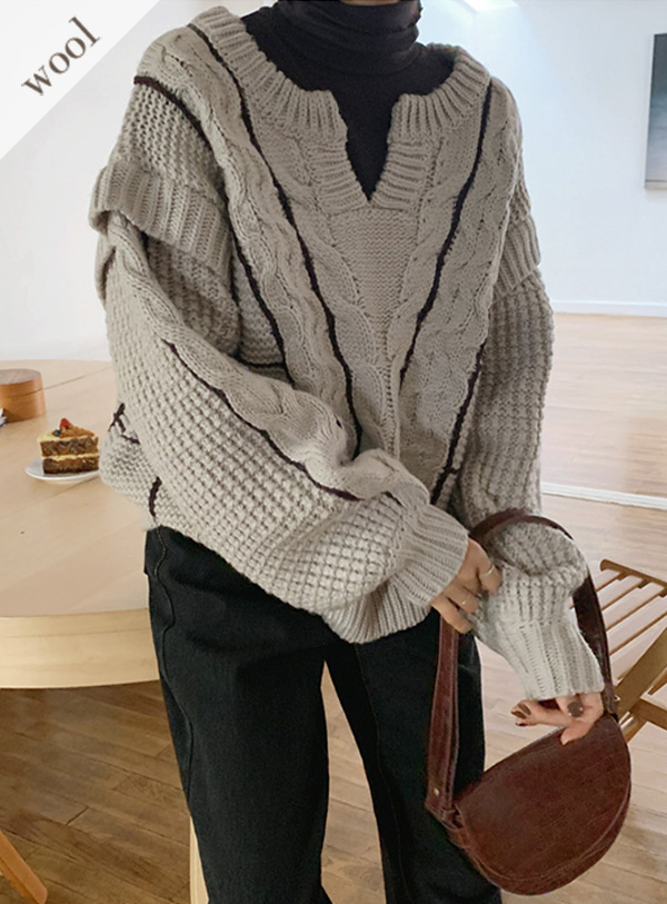 [hand made] 라인 케이블 knit (*2color)